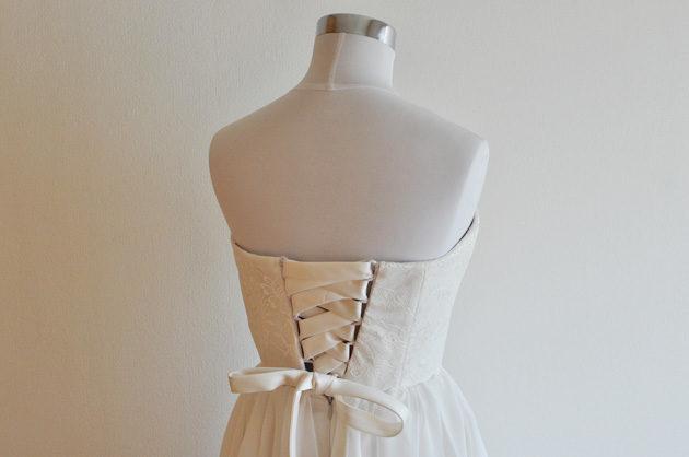 オフホワイト 膝丈 ウェディングドレス