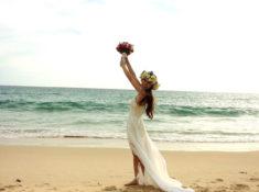ビーチ シフォン ウェディングドレス