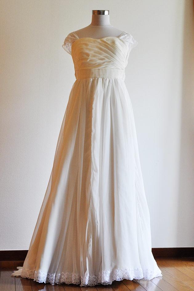 シフォン ウェディングドレス スカート