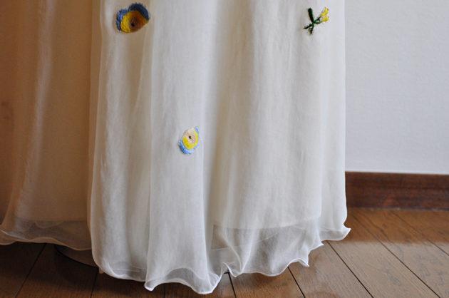 刺しゅうワンピース裾