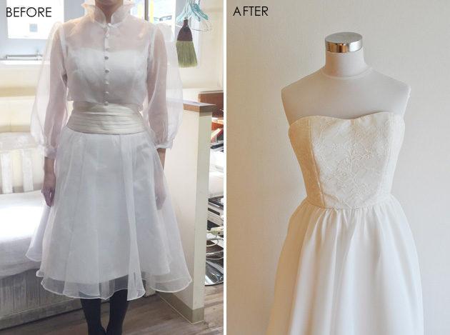 染めずにウェディングドレスの色を変更