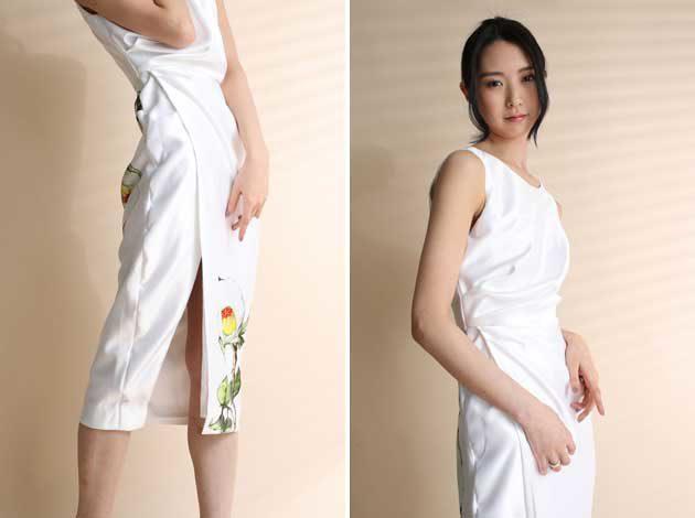 椿柄 ワンピ スカート