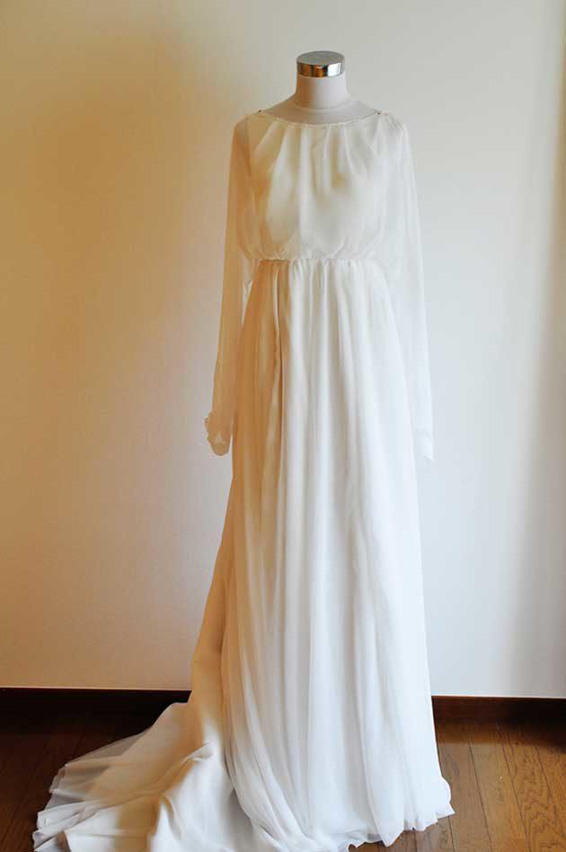 ロングスリーブ シフォンウェディングドレス